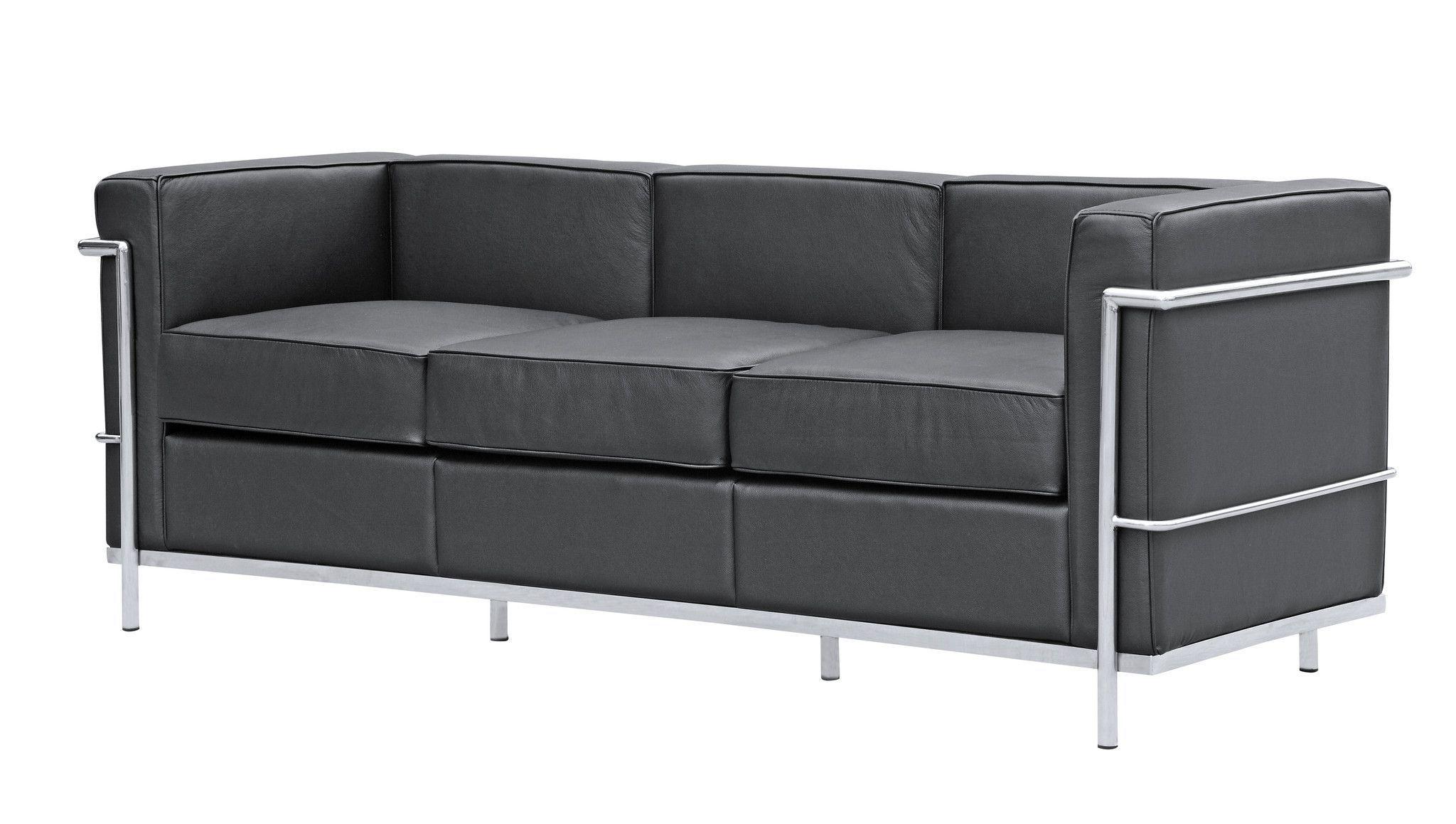 Cube Le Corbusier Lc2 Style Petit Sofa, Black Leather