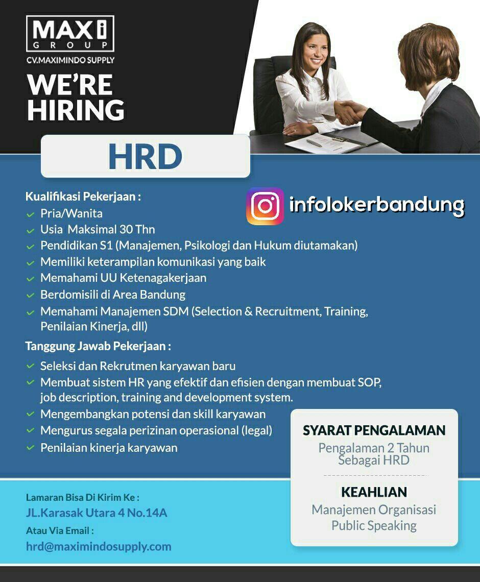 Lowongan Kerja Hrd Cv Maximindo Supply Bandung Juli 2017
