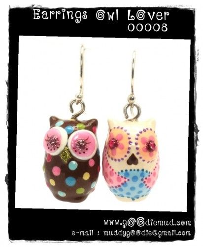 Owl Earrings Ceramic Pendant Bead Handmade Jewelry gifts for her 00008