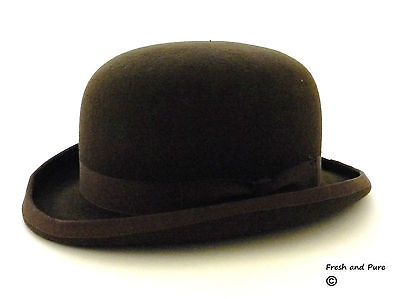 Nuevo caballero inglés Marrón 100% Lana Sombrero de eventos Derby Bombín  Original c5f6724e2e9c