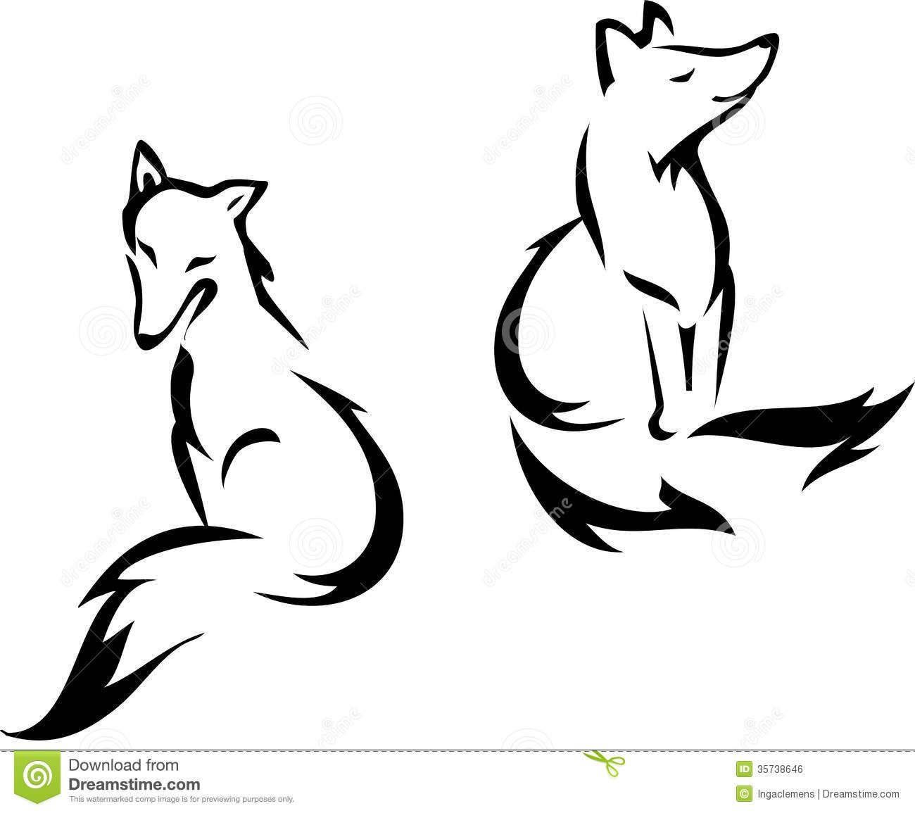 Red Sitting Fox Silhouette Stock Vector