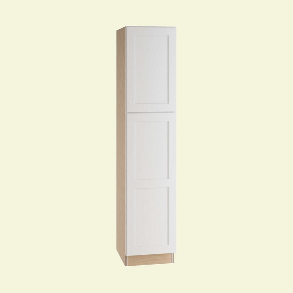 3eeb0512ddee Home Decorators Collection Newport Assembled 18 x 84 x 24 in. Pantry/Utility  Cabinet Right Hand in Pacific White