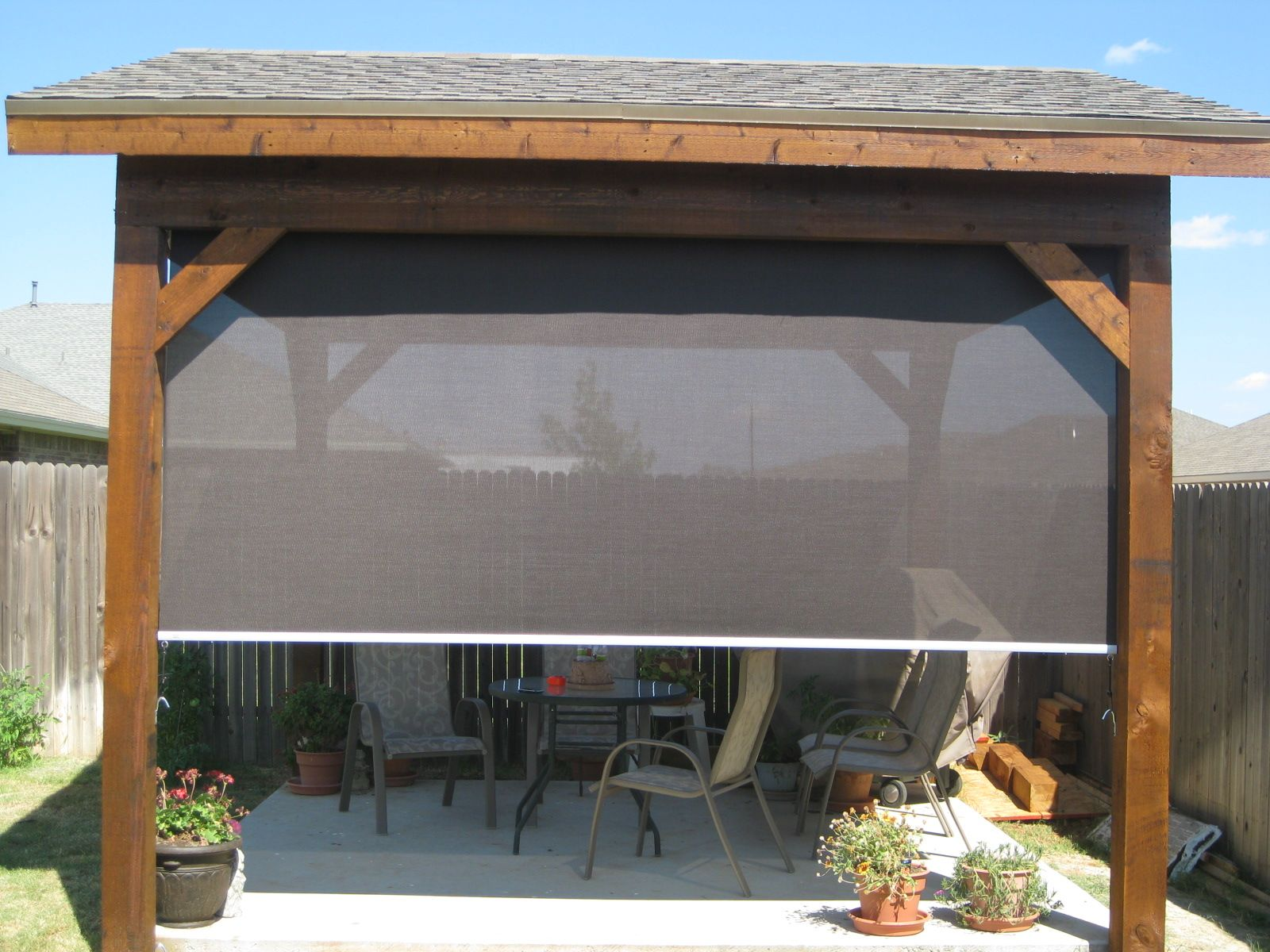 Home blinds shutters roller shades patio shades solar screens about us  Best 25  Sun shade ideas on Pinterest   Sail shade  Outdoor sun  . Outdoor Fabric Sun Shades. Home Design Ideas