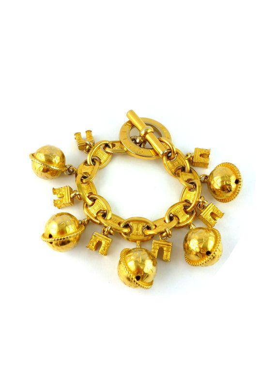 Celine Vintage Iconic Charms Bracelet Triumphal Arch Planisphere Gold Tone Bracelet Antique Jewelry Charm Bracelet