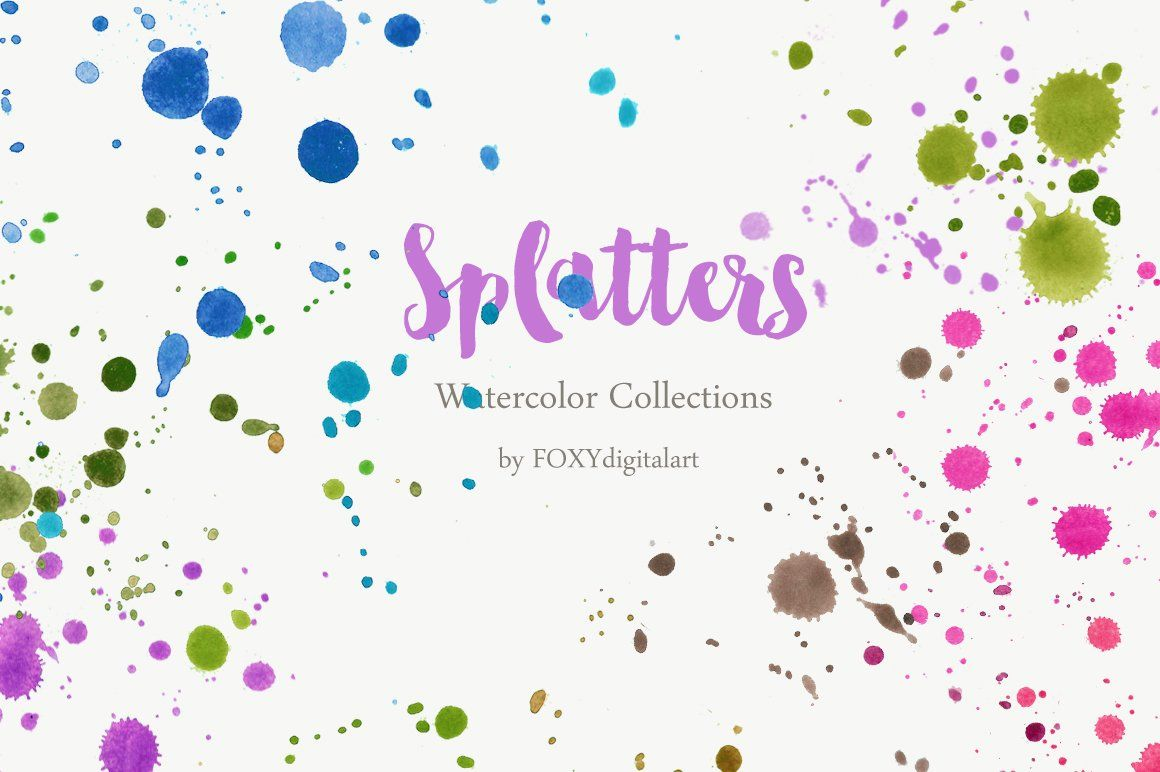 Watercolor Paint Brush Splatters 45 Watercolor Splash Paper