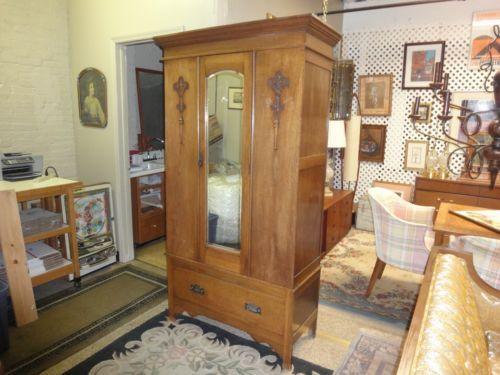 Antique Oak Single Door Beveled Mirror Armoire Wardrobe | EBay $375