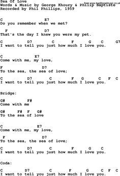 Rock And Pop Song Lyrics With Chords For Sea Of Love
