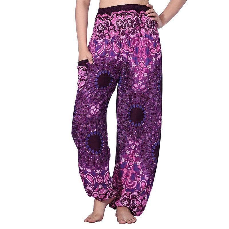 08e471f48eb CHRLEISURE Women High Waist Printed Beach Boho Pants Fashion Harem Pants  Women Plus Size Loose Bohemian