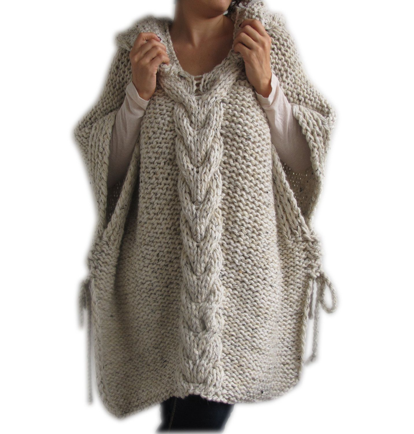 Knitting Ponchos : Clearence tweed beige hand knitted poncho with hood