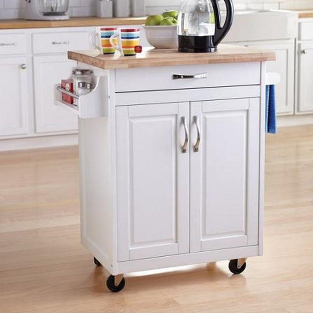 White Kitchen Rolling Cabinet Solid Wood Top Cart Storage Organizer Island