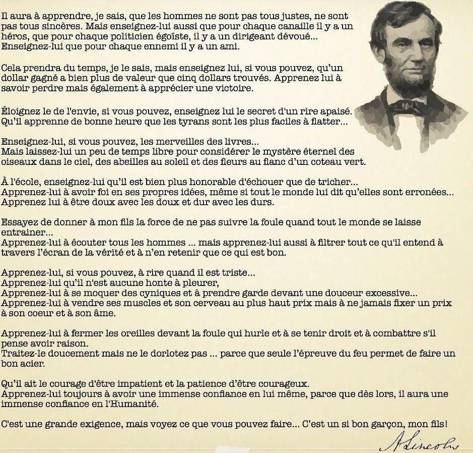 Lettre d\'Abraham Lincoln au professeur de son fils | Paroles de ...