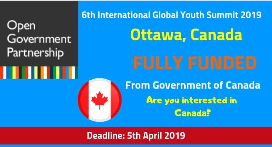 6th International Global Youth Summit Canada 2020 Fully Funded