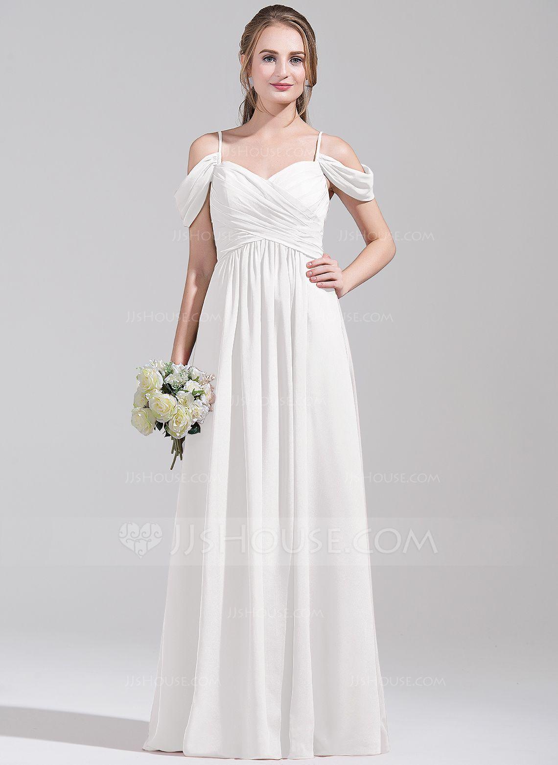 A-Line/Princess Off-the-Shoulder Floor-Length Chiffon Bridesmaid ...