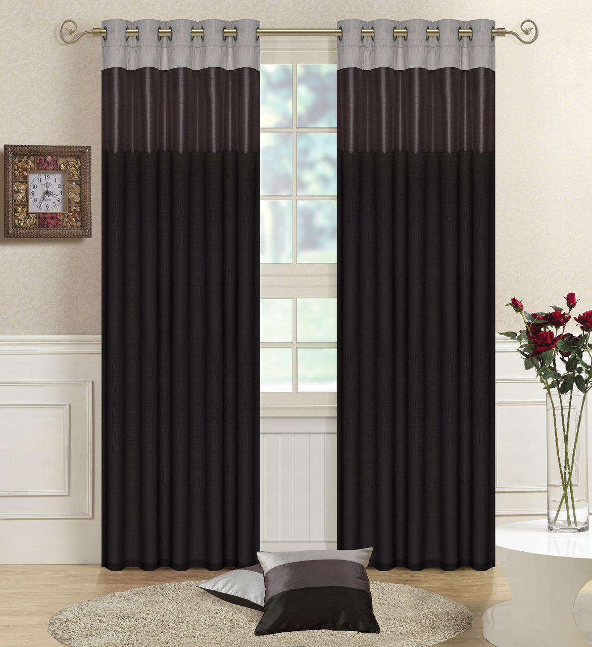 Black GreySilver Faux Silk THREE TONE Fully Lined CURTAINS