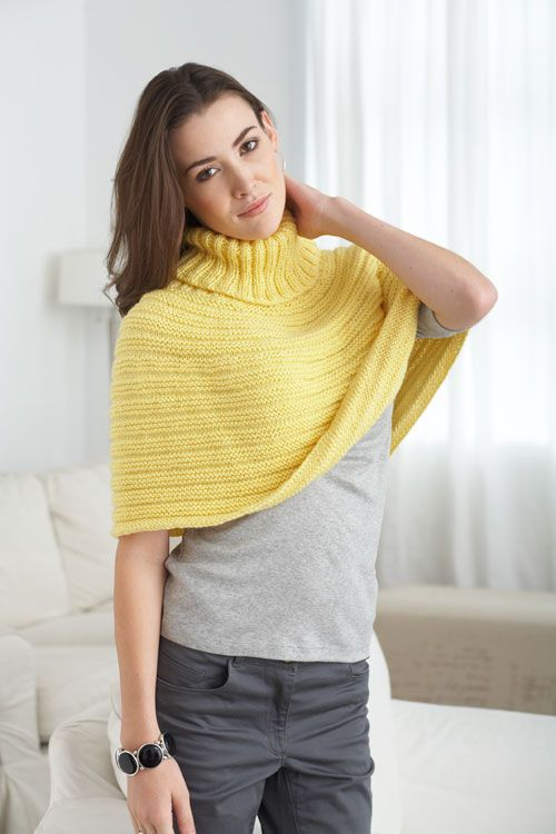 Caron International | Free Project | Just Enough Cape | Knit it Up ...