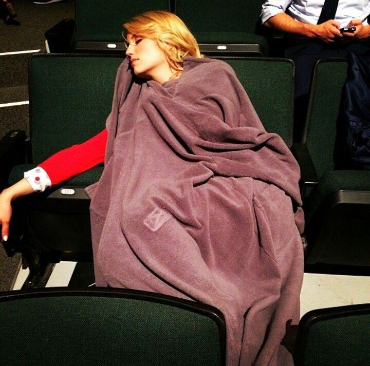 Dianna sleeping on set