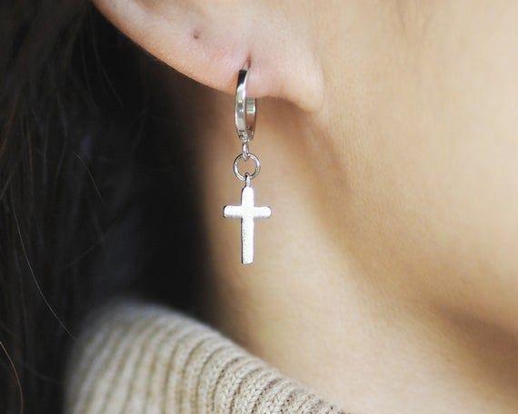 Sam Cross Earringsdainty Silver Cross Earringstiny Silver Etsy Cross Earrings Dangly Earrings Sparkly Earrings