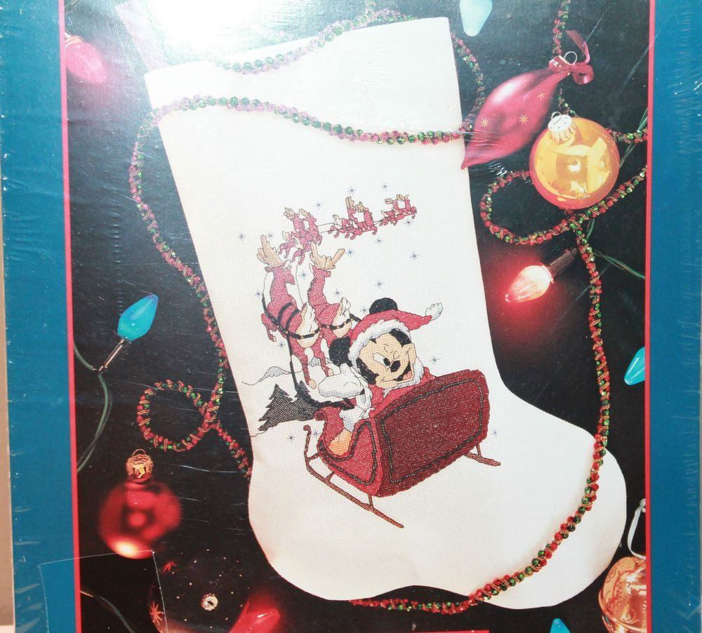 Mickey in Santa's Sleigh Christmas Stocking CrossStitch