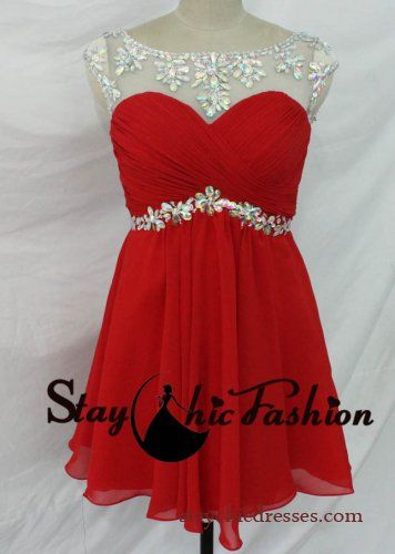 Red Short Pleated Bust Rhinestone Beaded Mesh Top Open Back Prom Dress 2015