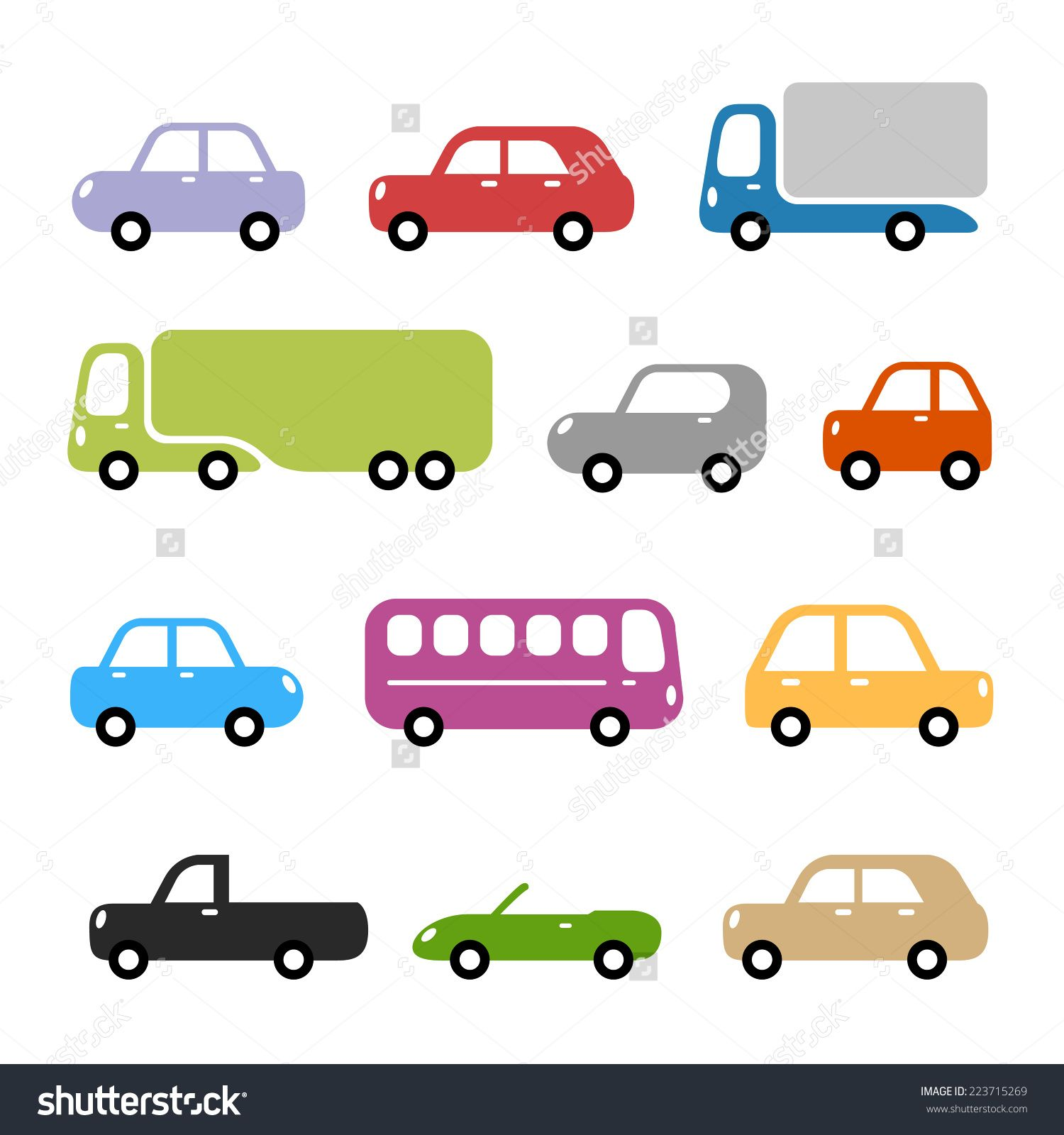 stock vector cars illustration different car types in simple rounded