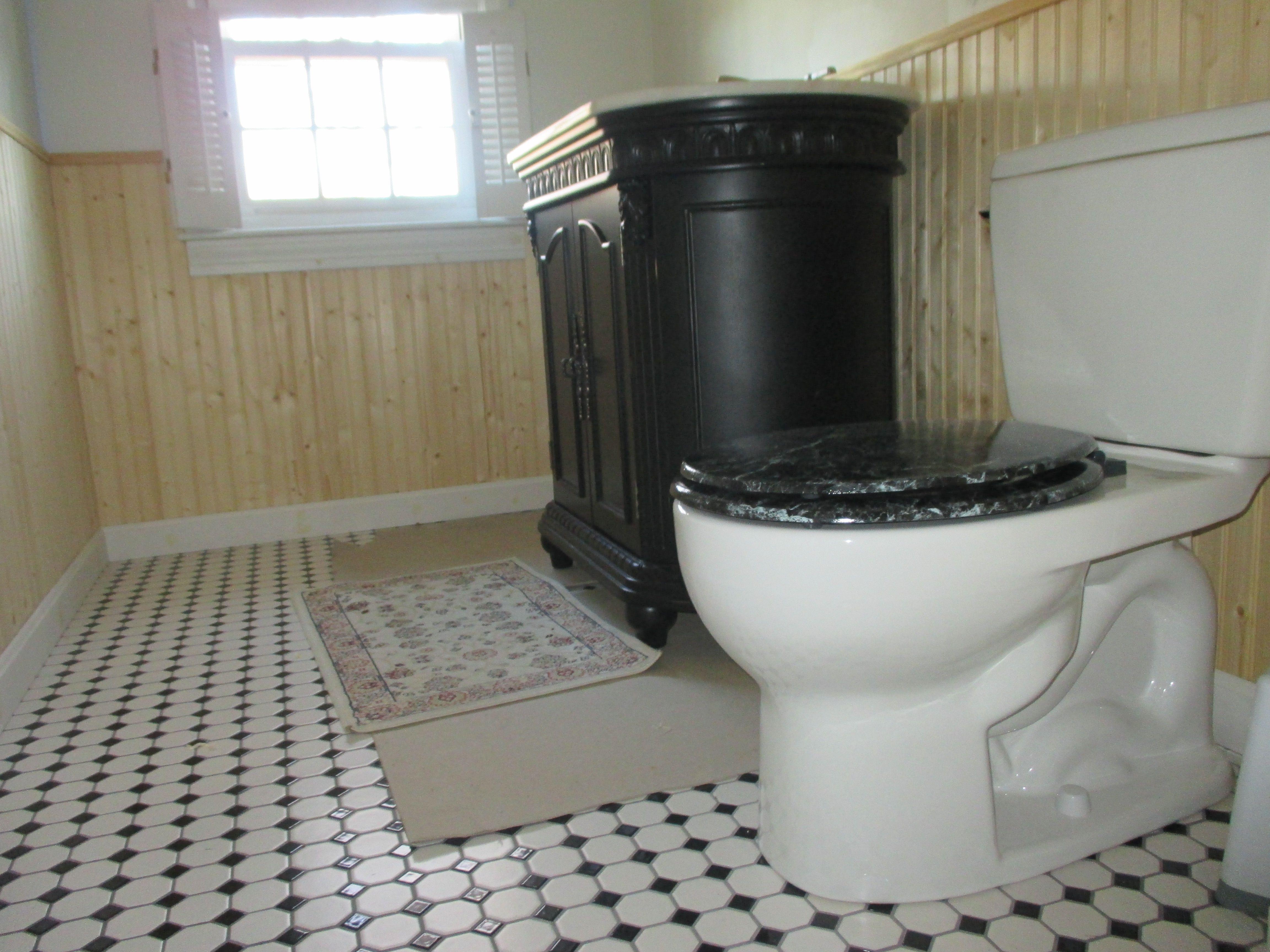 National DIY chain vanity, marble top; TOTO toilet; dry wall ...