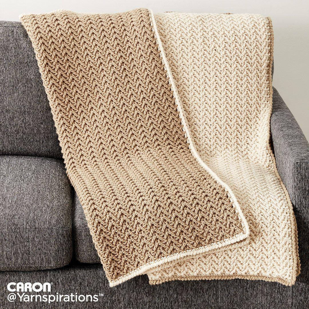 Crochet Texture Lap Blanket, free pattern from Yarnspirations. 35\