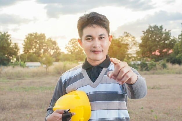 is your life #architect #men #construction #worker #asian #yellow #hat #finger #point #nature #sunset