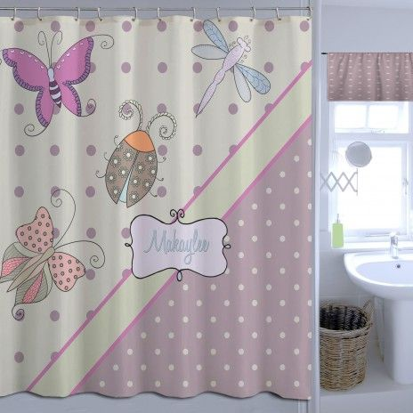 Purple And Green Butterfly Shower Curtain And Tan Polka Dots 37