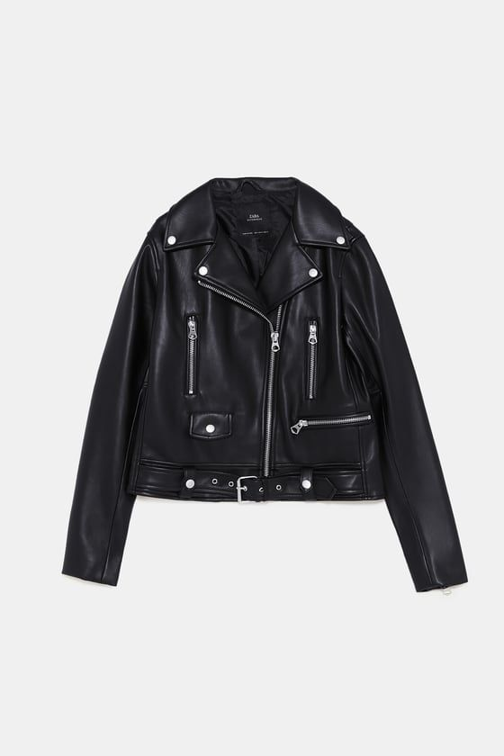 f75b279cdd9 Image 9 of FAUX LEATHER ZIPPERED JACKET from Zara