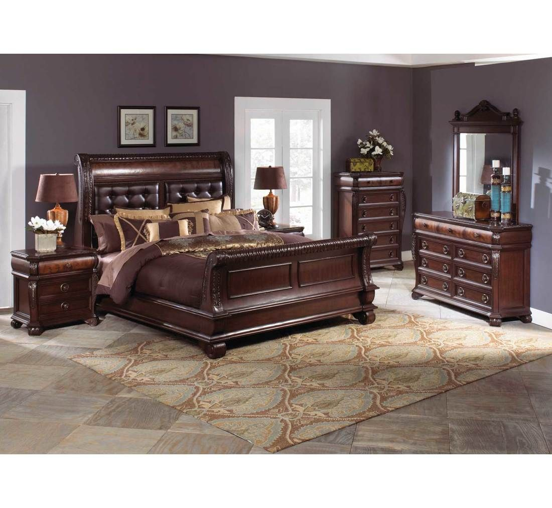 The sleigh bed of this decadent collection feat