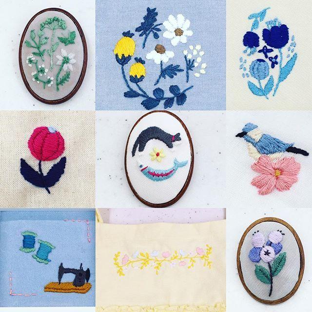 西宮の刺繍教室の参加者さんの作品! 今日もかわいい刺繍がたくさん並びましたー。 青率高いです笑 . . #needlecraft #needlework #embroideryart #embroidered #embroidery #刺繍 #ハンドメイド #ハンドメイドブローチ #ブローチ部 #ブローチ #刺繍ブローチ #ハンドメイドアクセ #handicrafts #handicraft #handiwork #暮らし #日々 #手作り #手刺繍 #刺しゅう #자수 #broderie #вышивка #
