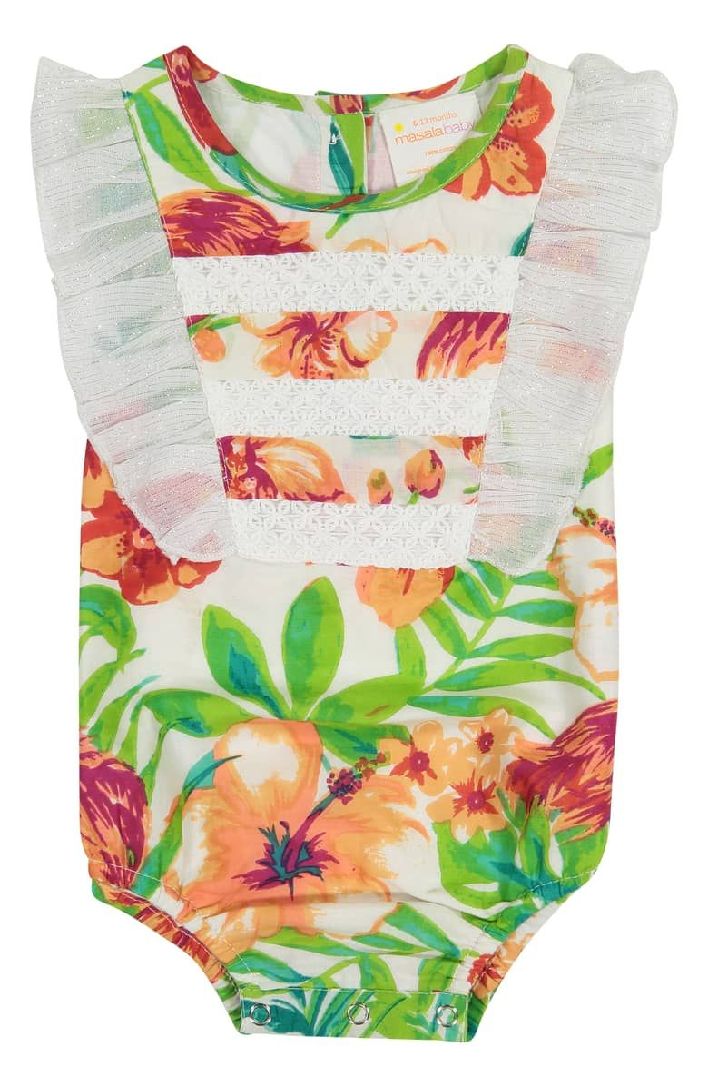 017b771acd132 Nordstrom - MASALA BABY Flamingo Island Ruffle Bodysuit, MULTI ...