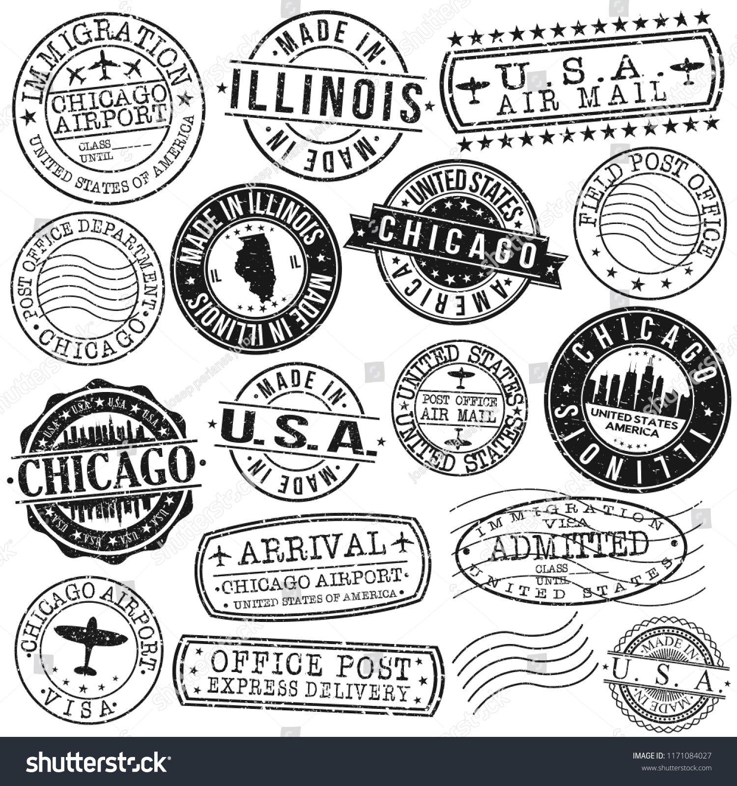 Chicago illinois usa stamp vector art postal passport