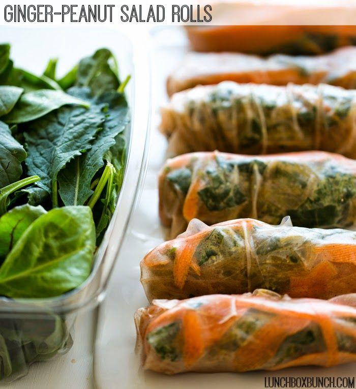 Ginger-Peanut Power Up Greens Salad Rolls. Brown Rice Wraps!    verschillende groenten, bijvoorbeeld: boerenkool, spinazie en wortels, rijstpapier, pindakaas, stroop, appelcider azijn, geraspte gember, peper en zout, knoflookpoeder