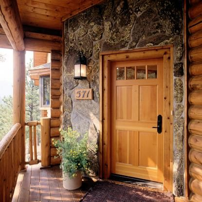 Log home entry with stone facade | Doors, Entryways, & Hallways ...