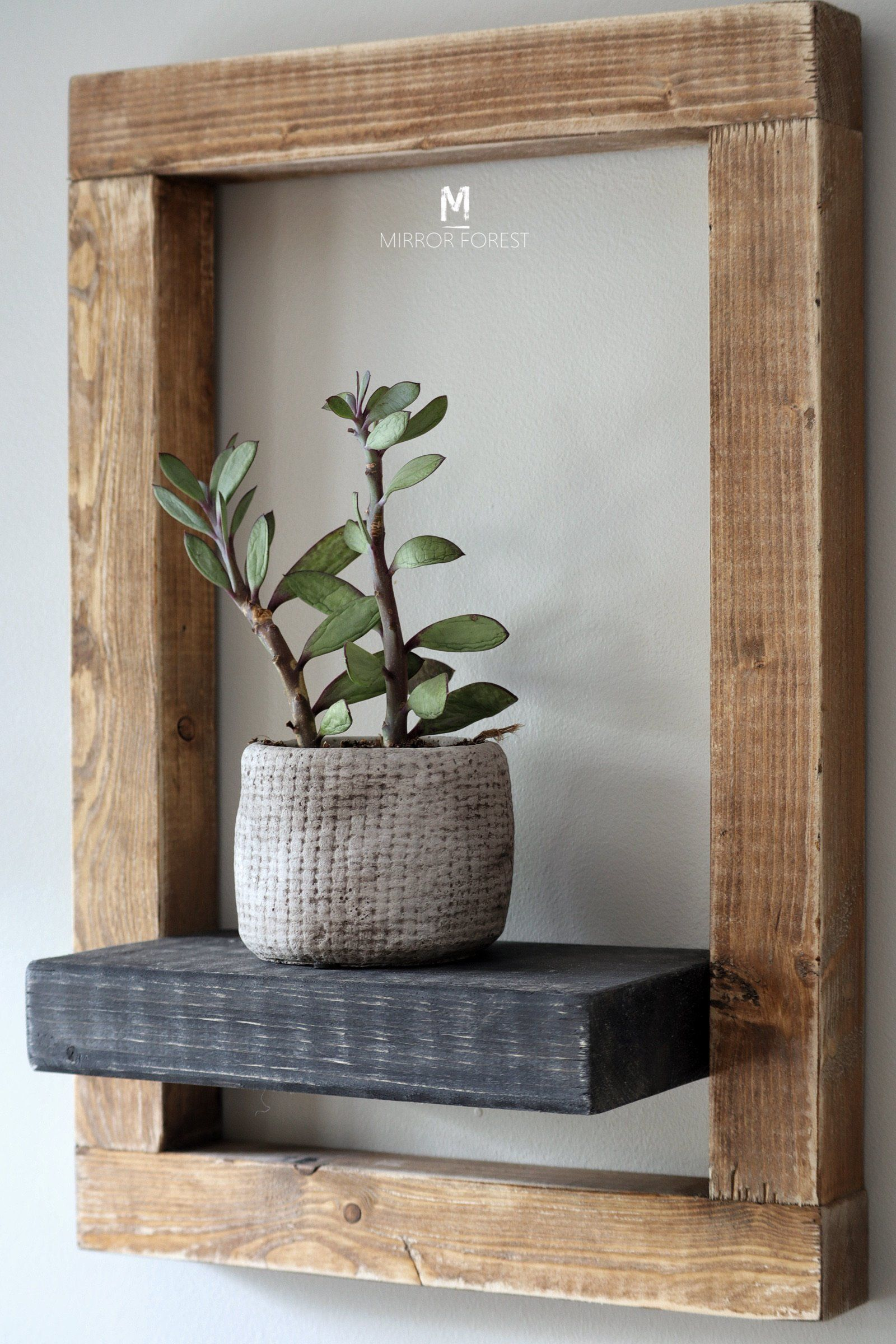 Framed Country House Rustic Shelf / Planter - Light Oak Rustic Finish - Light Oak - Black Shelf
