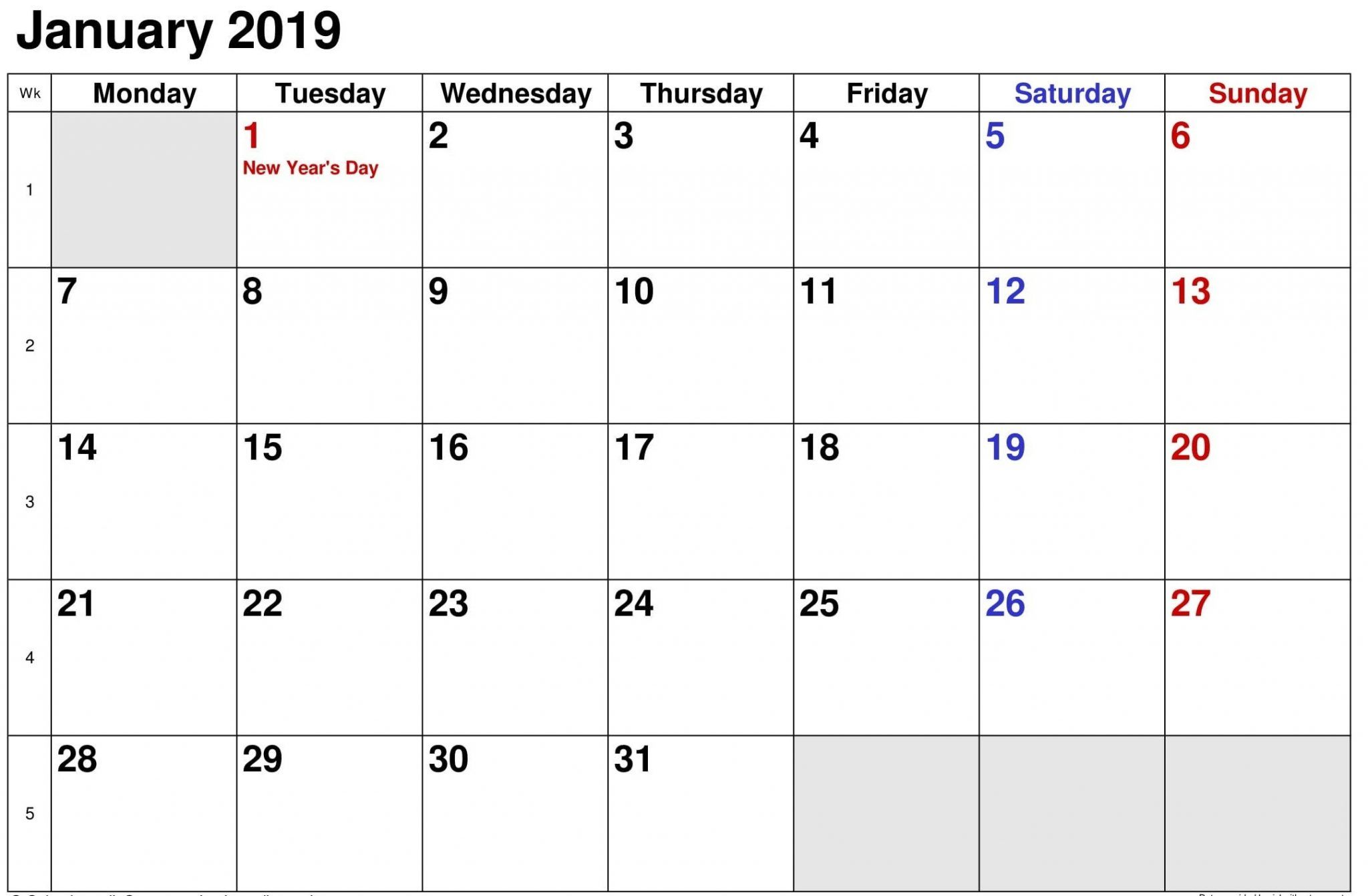 January Calendar With Holidays Printable
