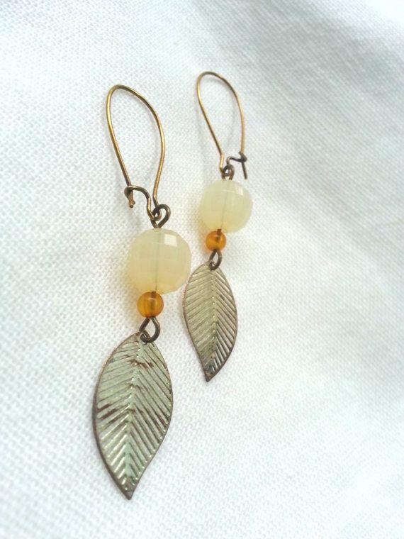 Vintage Leaf Earrings  Seattle Handmade by PalindromeCircus, $22.00