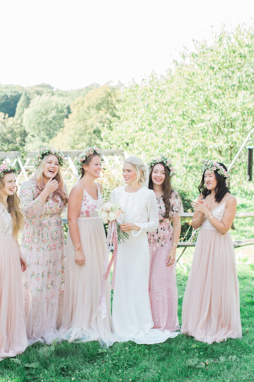 Needle Thread Bridesmaids Dresses For A Pink And Mint At Home Marquee With Fine Art