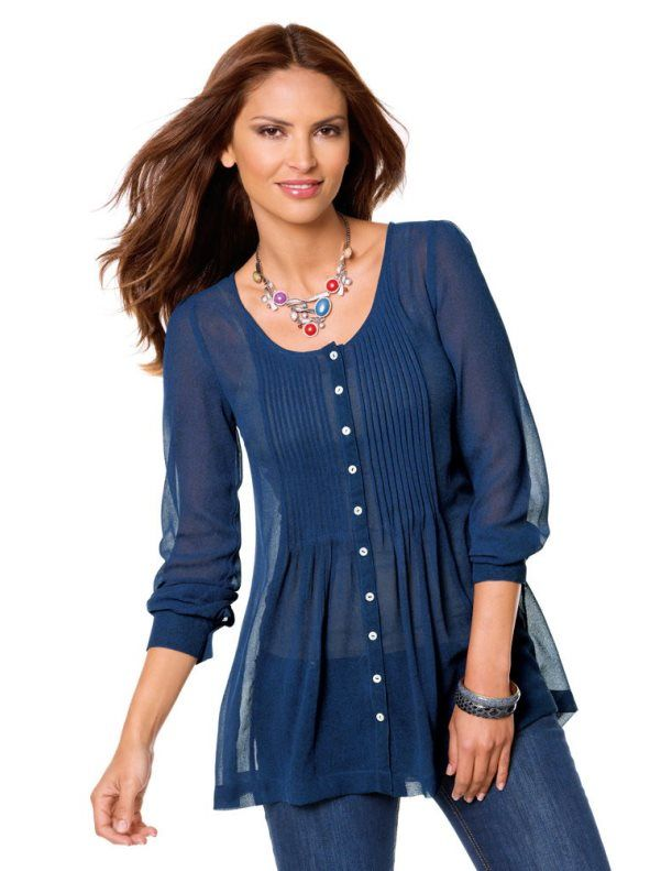 cb421de77923e Blusa larga mujer manga larga con jaretas …