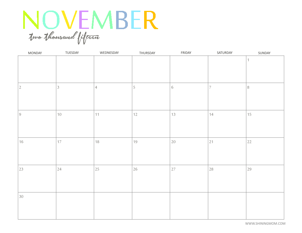 the printable 2015 monthly calendar by shiningmom is here
