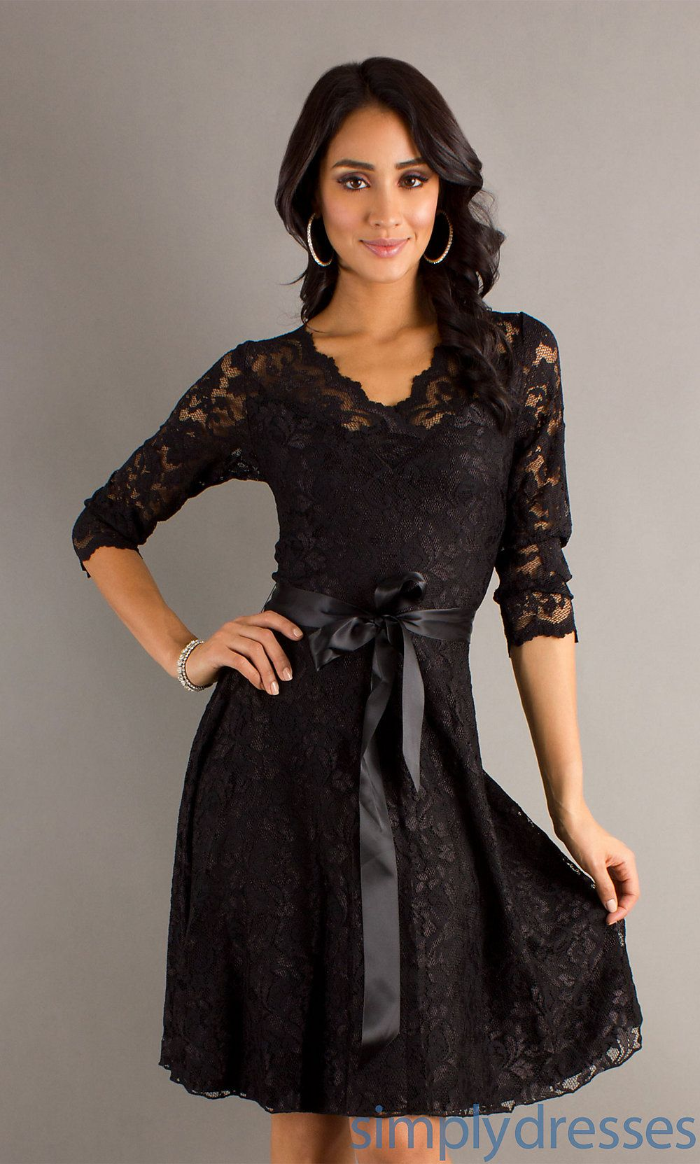 Black long sleeve wedding dresses  Short black lace dress  simply dresses  dresses   Pinterest