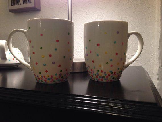 Hand painted Polka dot mugs (set of 2)