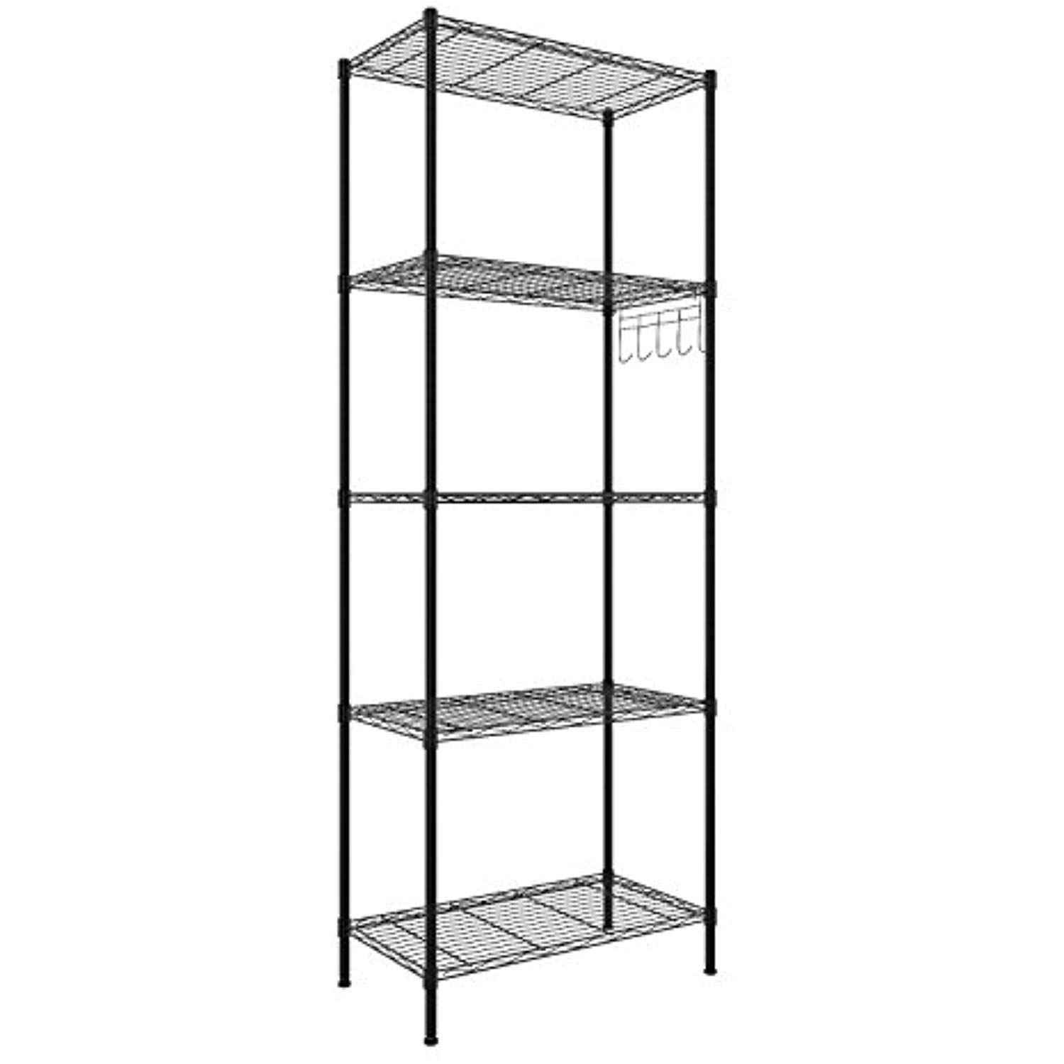 Bathwa Wire Storage Rack 5 Tier Metal Shelving Units Kitchen Garage Storage Shelves Free Standing Silver With Images Wire Shelving Units Home Basics Wire Storage Shelves