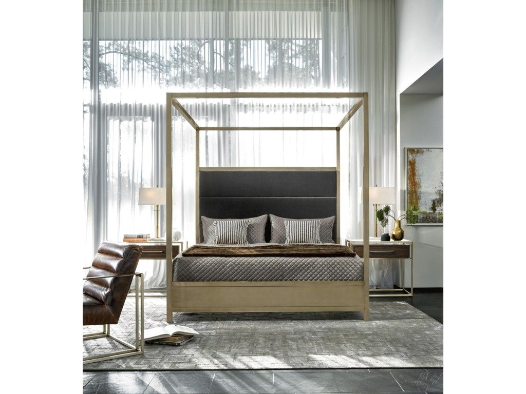 Best This Contemporary Canopy Bed Has A Brushed Brass Finish 400 x 300