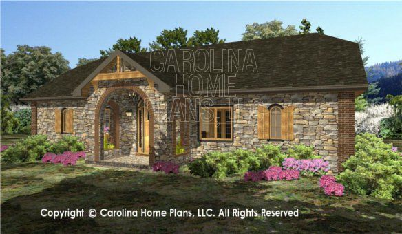 Small Stone Cottage 3d House Plan Views Cottage House Plans Farmhouse Plans Stone Cottage