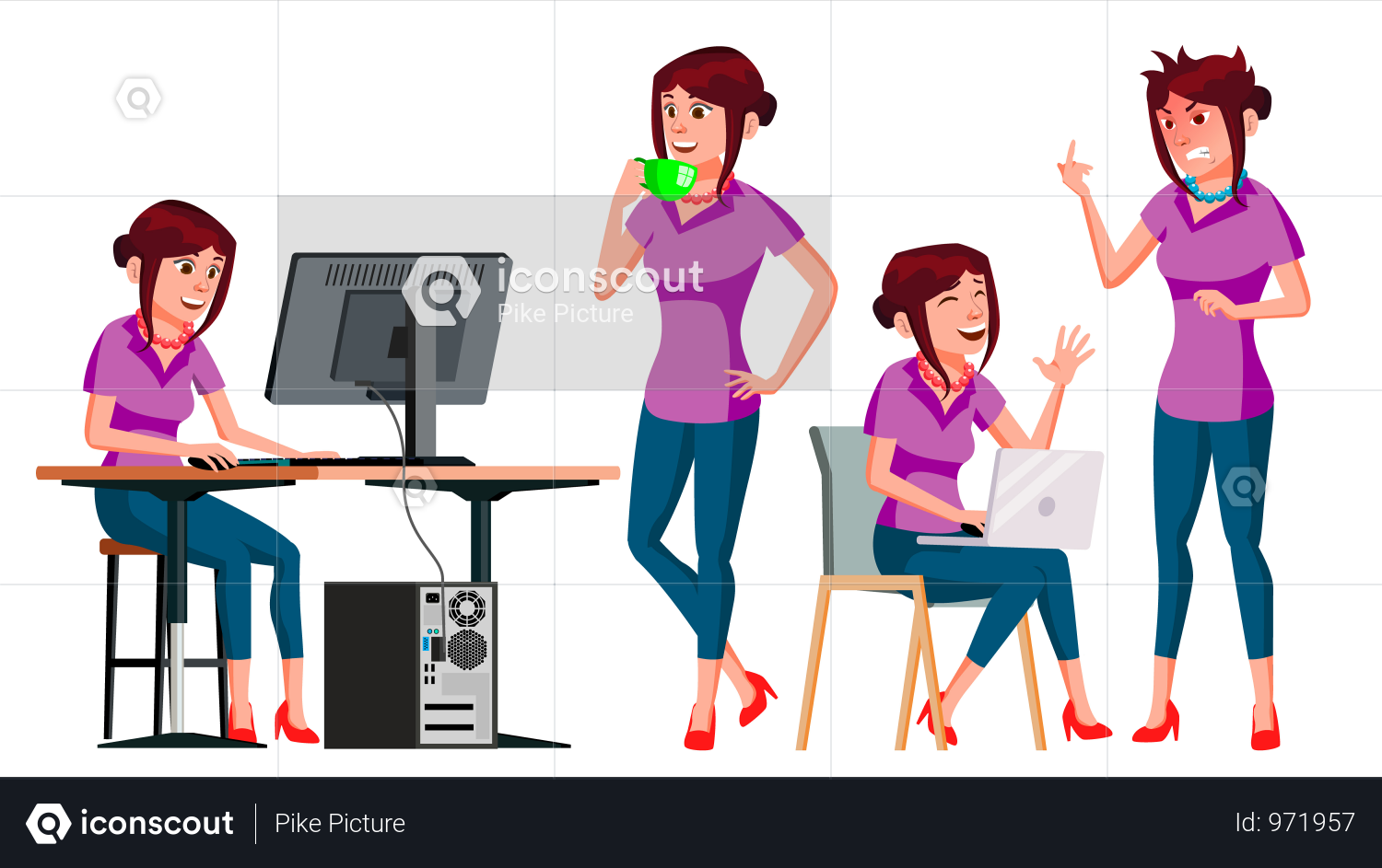 Lady Employee With Different Gesture Illustration | Business