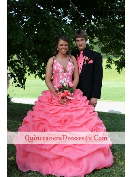 93786c8dc96 Discount Watermelon Red Straps Pick-ups Appliques Quinceanera Dress ...