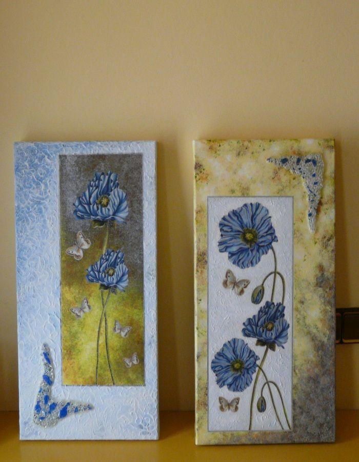 Cuadro con flores en decoupage pintura y aplicaciones de for Pintura para decoupage