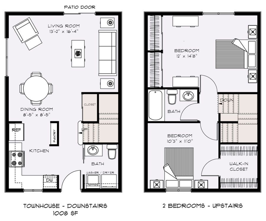 Two bedroom townhouse floor plans floor plans talent for Two apartment house plans